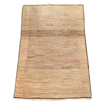 3'11 x 5'11 Hand-Knotted Persian Gabbeh Wool Area Rug