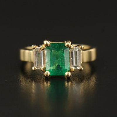 18K 1.29 CT Emerald and Diamond Three Stone Ring