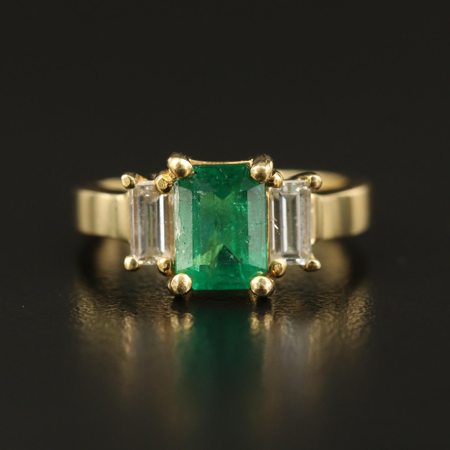 18K 1.29 CT Emerald and Diamond Three Stone Ring