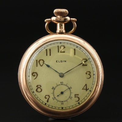 1900 Elgin Gold Filled Open Face Pocket Watch