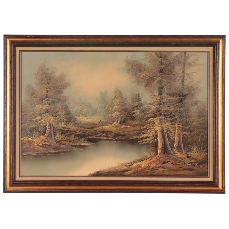 Adams Oil Painting of Riverside Landscape, Mid-Late 20th Century