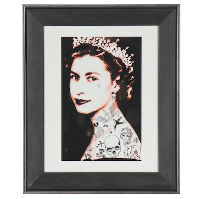 Giclée of Queen Elizabeth with Tiara and Tattoos
