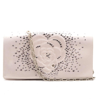 Chanel Camellia Diamante Convertible Clutch in Crystal Embellished Pink Satin
