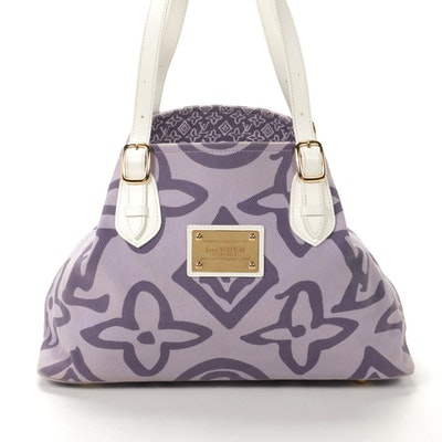 Louis Vuitton Cabas Tahitienne PM Tote in Lilac Canvas and White Leather