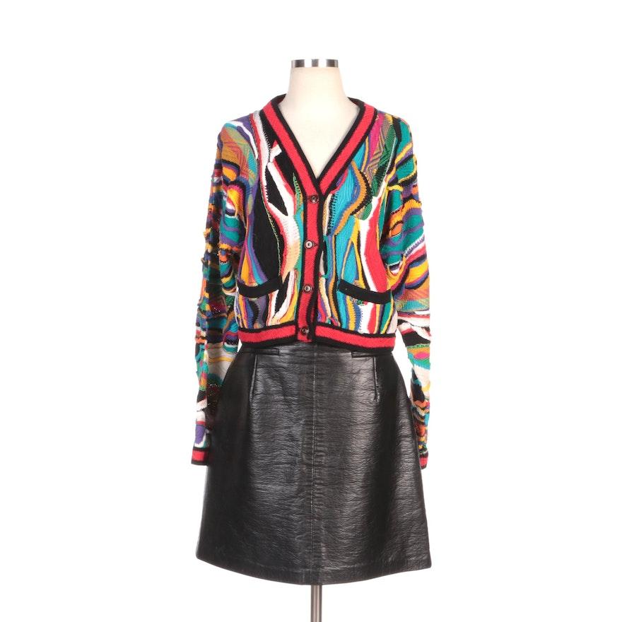 Coogi Multicolor Knit Cardigan with Antvia Black Vegan Leather Skirt