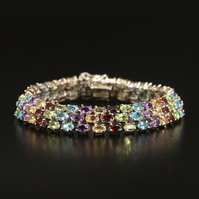 Sterling Multi-Row Bracelet with Garnet, Peridot and Amethyst