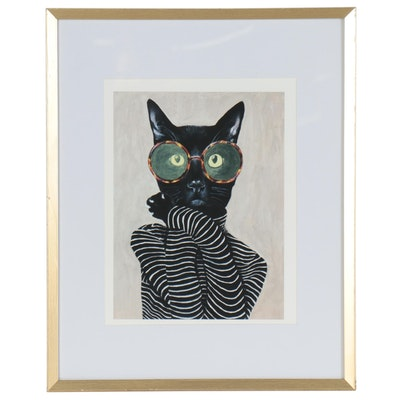 Pop Art Style Giclée of Anthropomorphic Cat in Glasses and Striped Shirt