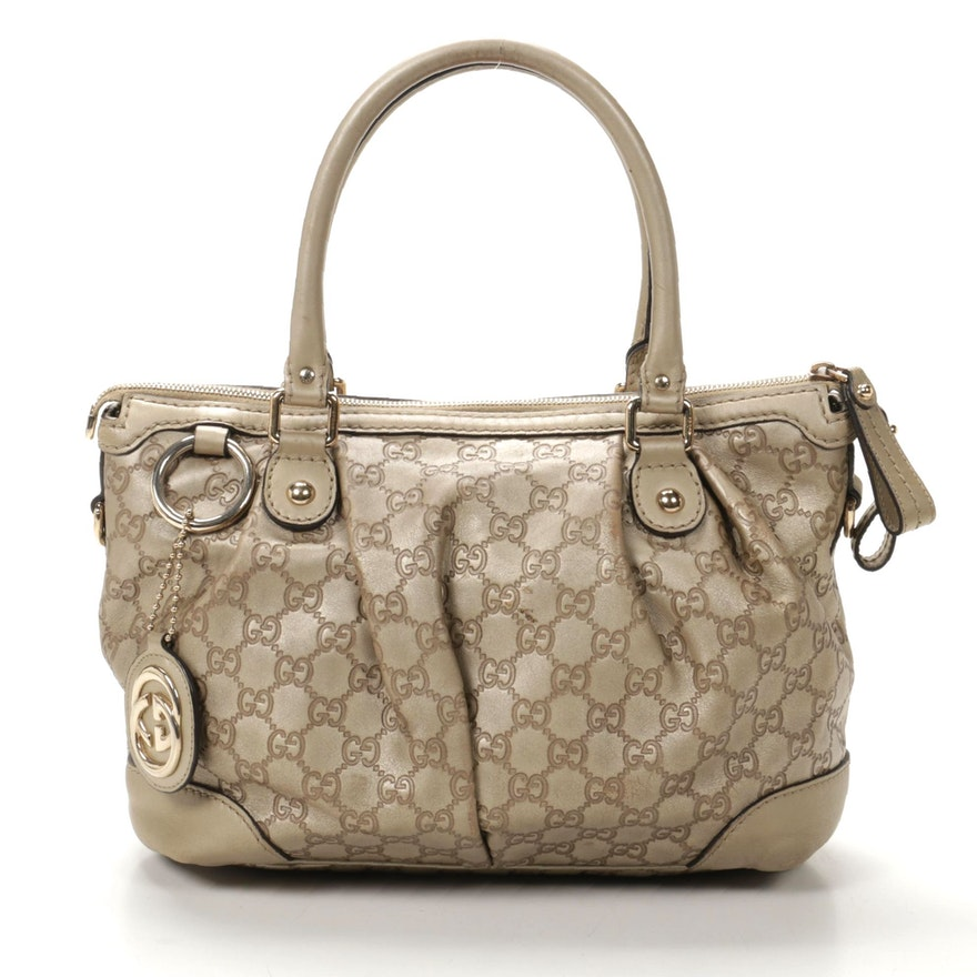 Gucci Guccissima Metallic Leather Shoulder Bag