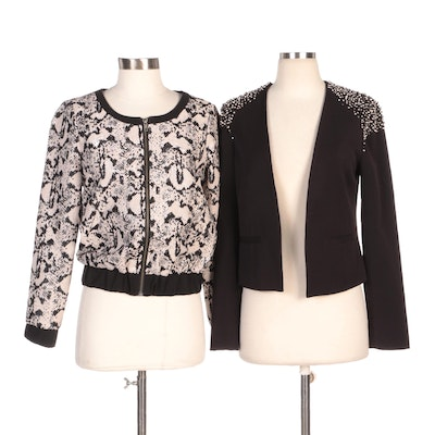 Silence + Noise Embellished Blazer with Cö Metallic Snake Print Jacket