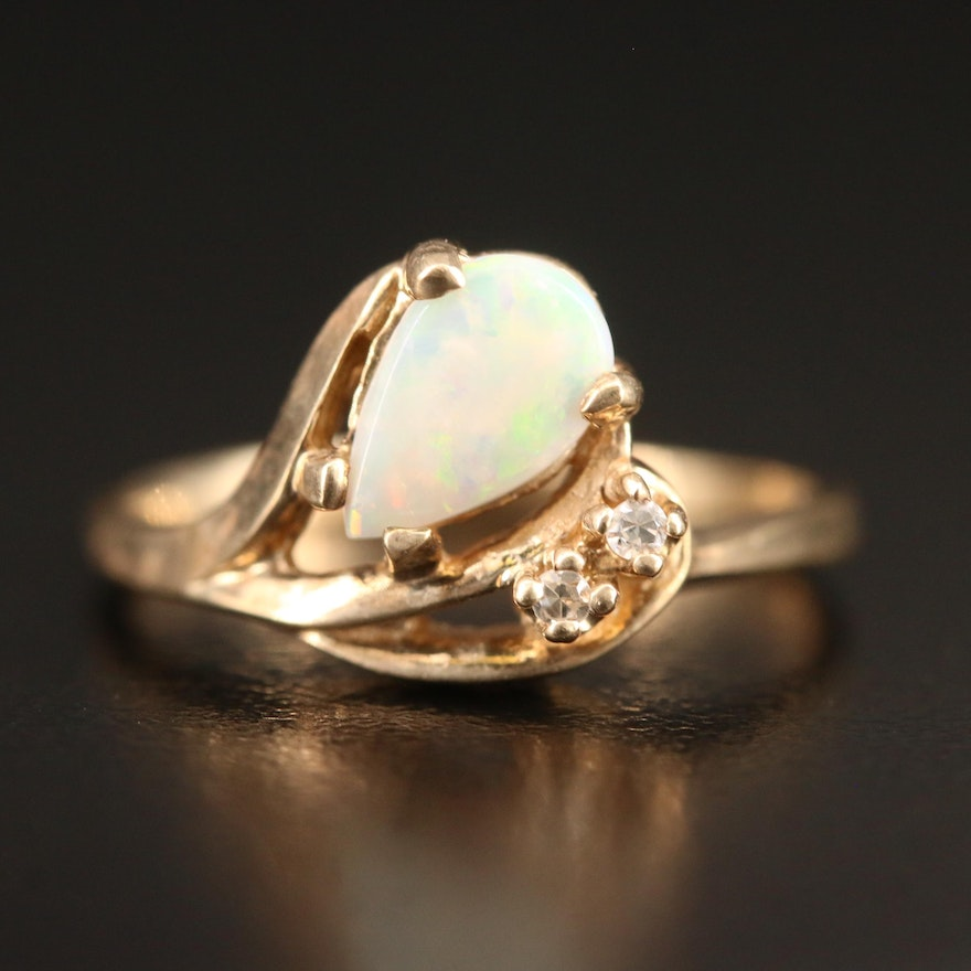 Diamond Accented 10K Opal Ring