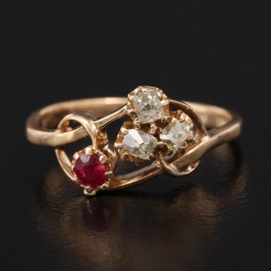 18K Ruby and Diamond Ring with Knotted Design