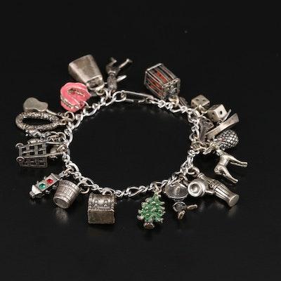 Vintage Sterling Charm Bracelet Including Rhinestone and Enamel Accents