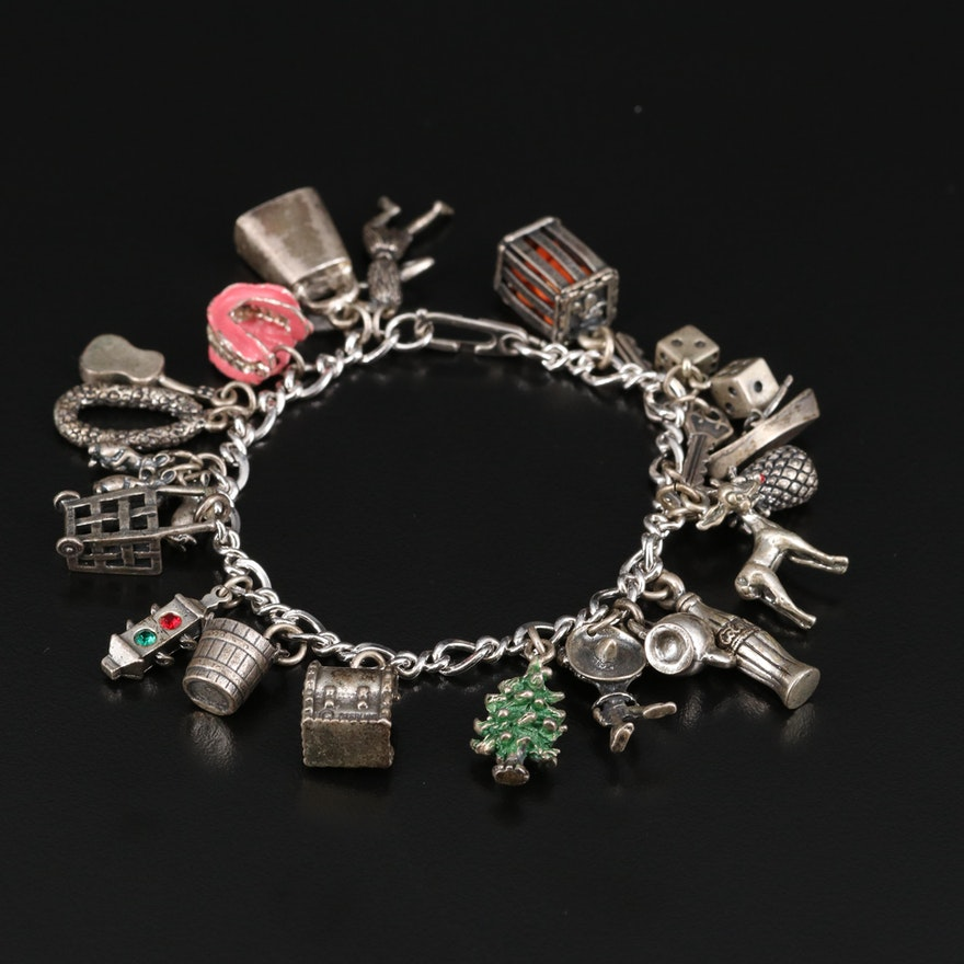 Vintage Sterling Charm Bracelet Including Rhinestone and Enamel Accents