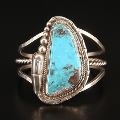 Southwestern Sterling Turquoise Cuff with Wirework and Stampwork Designs