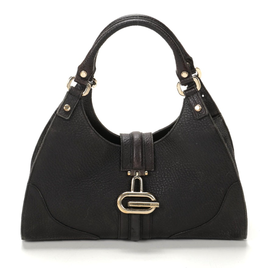 Gucci Black Pebbled Leather Handbag with G clasp