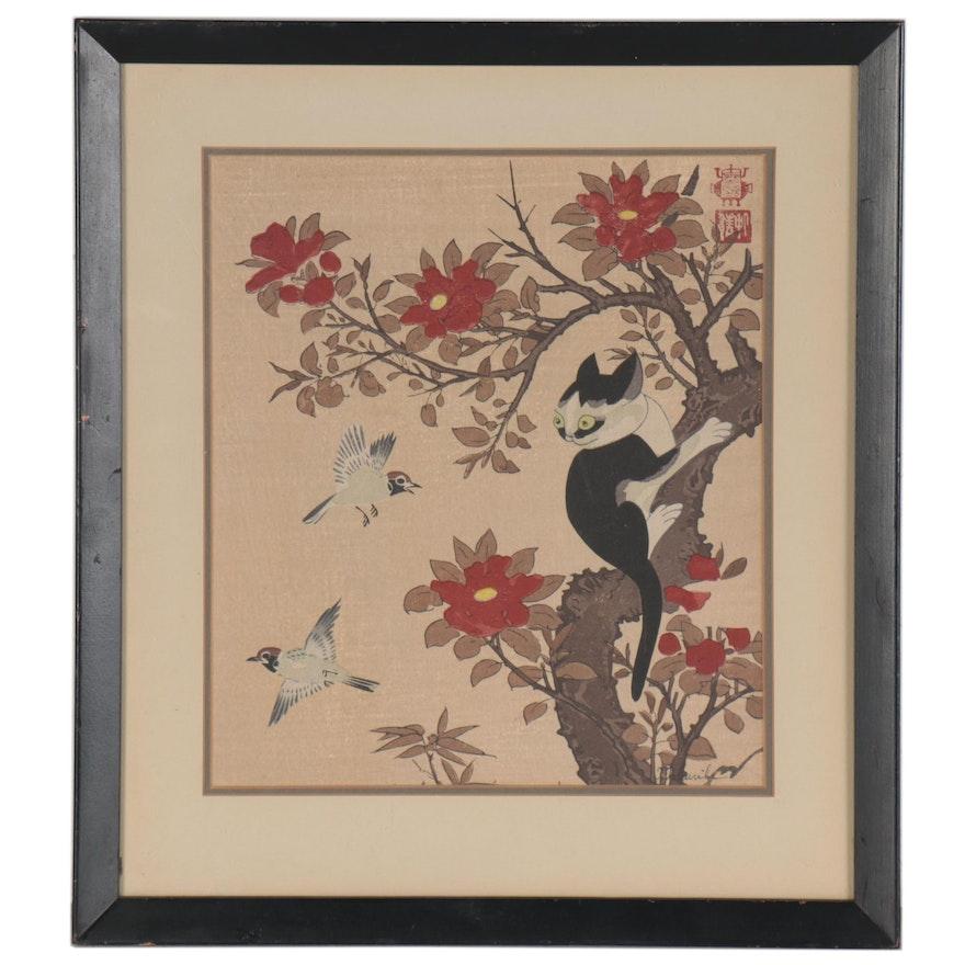 "Itō Jakuchū Woodblock ""Birds, Cat and Dog"""