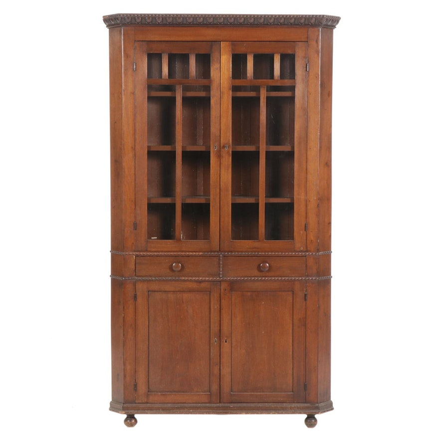 Colonial Revival Walnut Corner China Cabinet, Early to Mid 20th Century