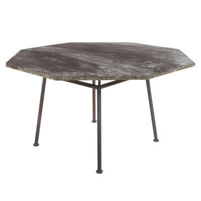 Octagonal Outdoor Slate Top Table with Metal Base
