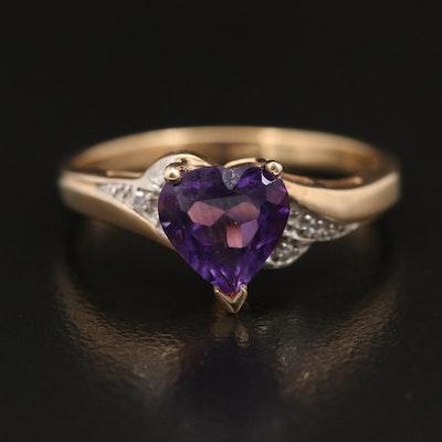 10K Amethyst and Diamond Heart Ring