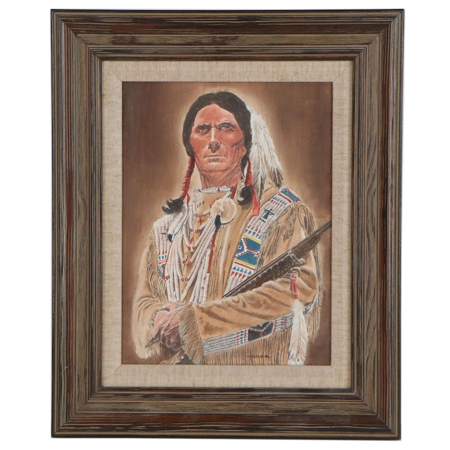 Oil Painting of Indigenous Person, Late 20th Century
