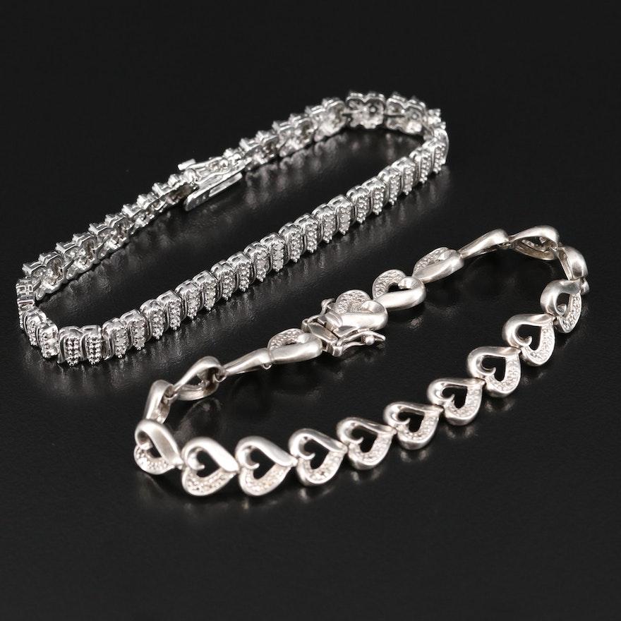 Sterling Diamond Bracelets