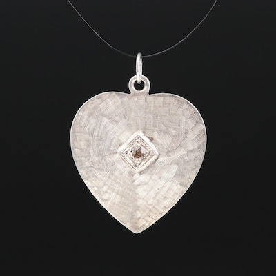 Sterling Diamond Heart Pendant