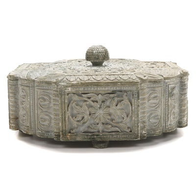 Indian Style Carved Soapstone Box with Floral Scrolls