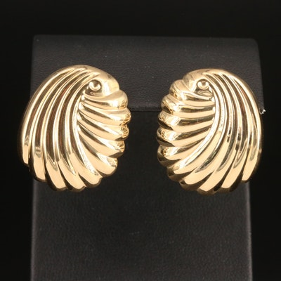 14K Fluted Earrings