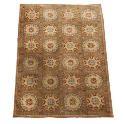 4'2 x 5'11 Hand-Knotted Indian Wool Area Rug from The Rug Gallery