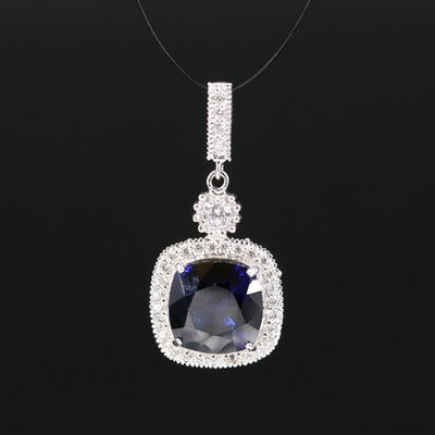 Sterling Sapphire and Cubic Zirconia Pendant