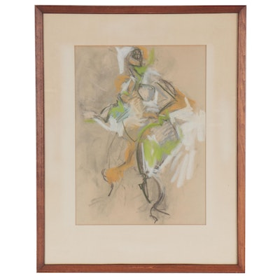 Abstract Figural Pastel and Charcoal Drawing, 1958