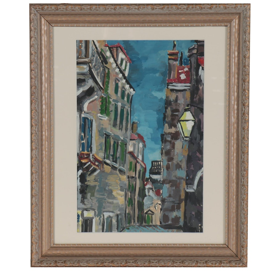 Gouache Painting of Abstract Cityscape, Late 20th Century