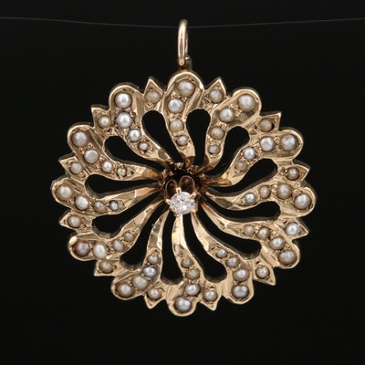 Victorian 10K Diamond and Pearl Pendant
