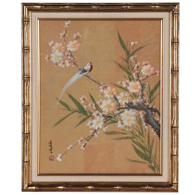 Chinese Gouache Painting of Bird on Flowering Tree