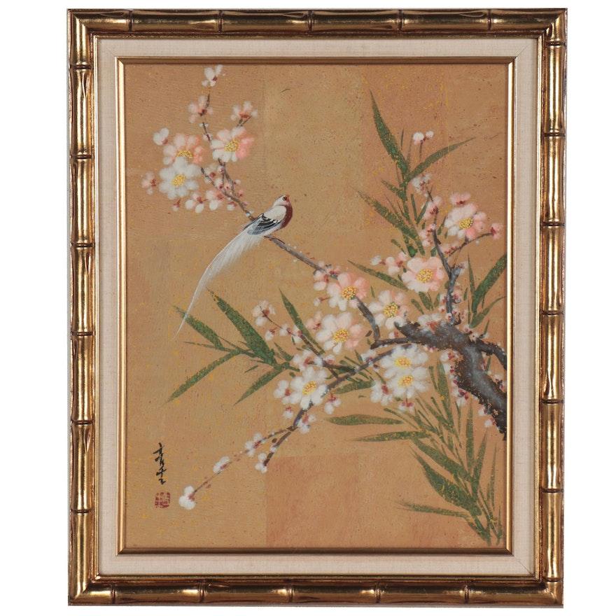 Chinese Gouache Painting of Bird on Flowering Tree