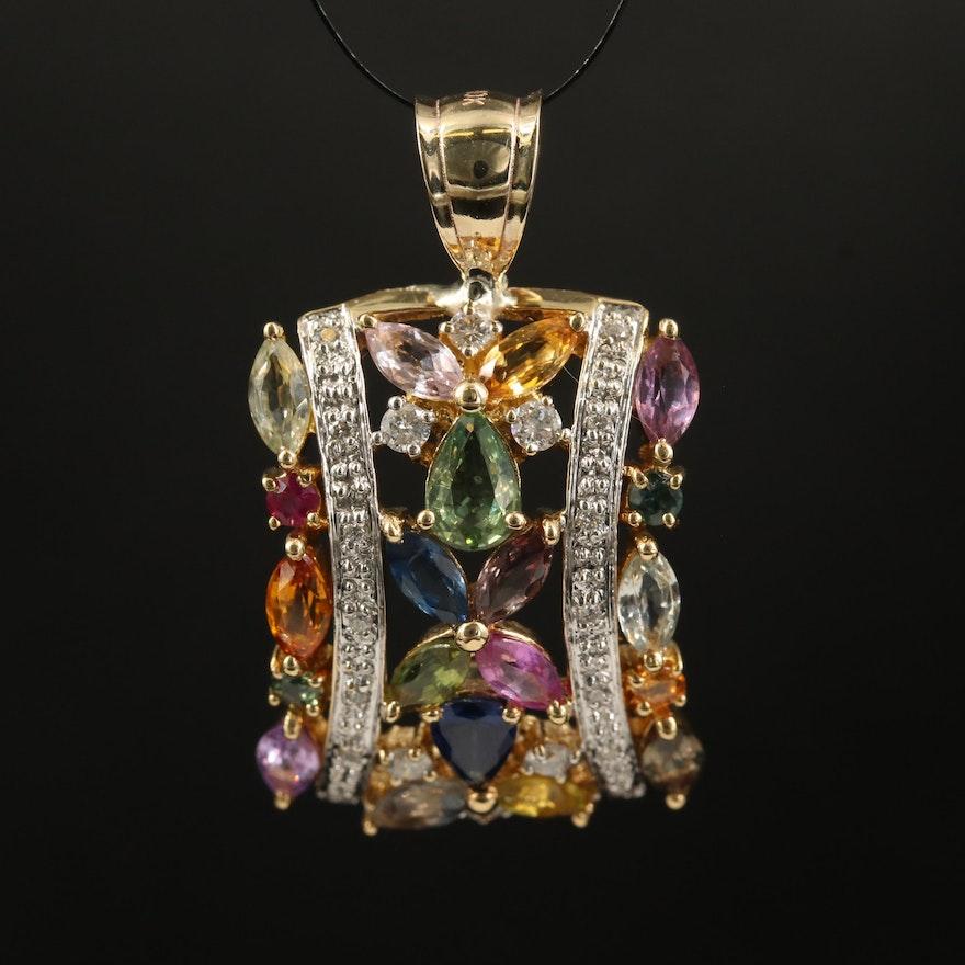 14K Sapphire, Ruby and Diamond Openwork Pendant