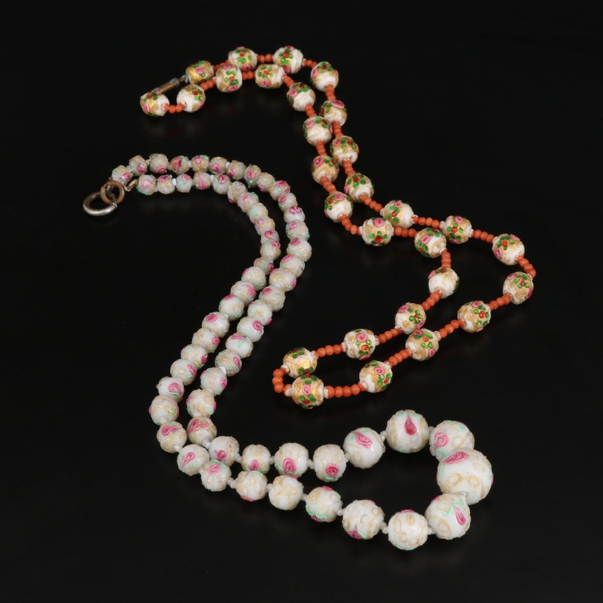 Antique Venetian Wedding Cake Bead Necklaces with Coral Accents