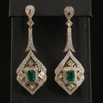 14K 3.52 CTW Emerald and 2.57 CTW Diamond Earrings