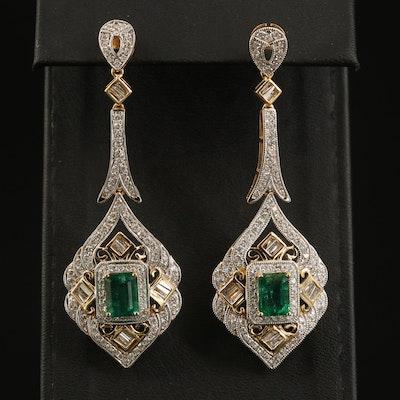 14K 3.52 CTW Emerald and 2.57 CTW Diamond Earrings