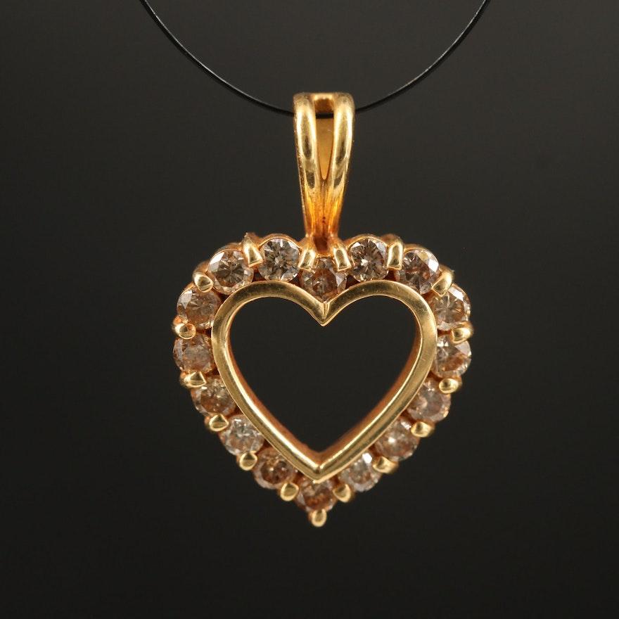 14K Diamond Heart Halo Pendant