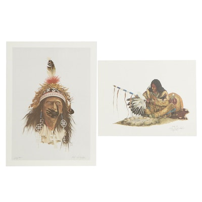 "Ken Schmidt Offset Lithographs ""Little WhirlWind"" and ""Red Hand"""