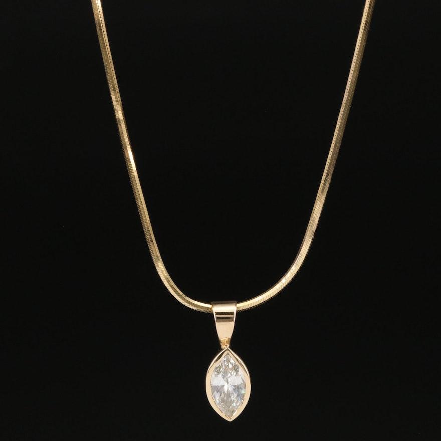 14K 1.03 CT Diamond Pendant Necklace