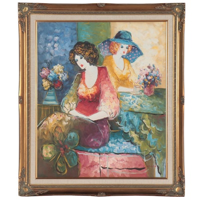 T. Denver Oil Painting of Two Women, Late 20th Century