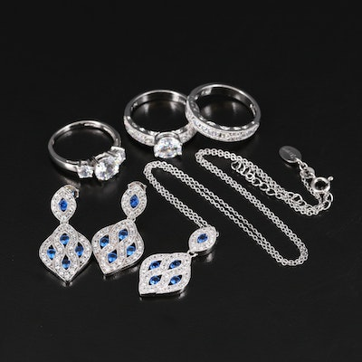 Stauer Sterling Spinel and Cubic Zirconia Necklaces, Rings and Earrings