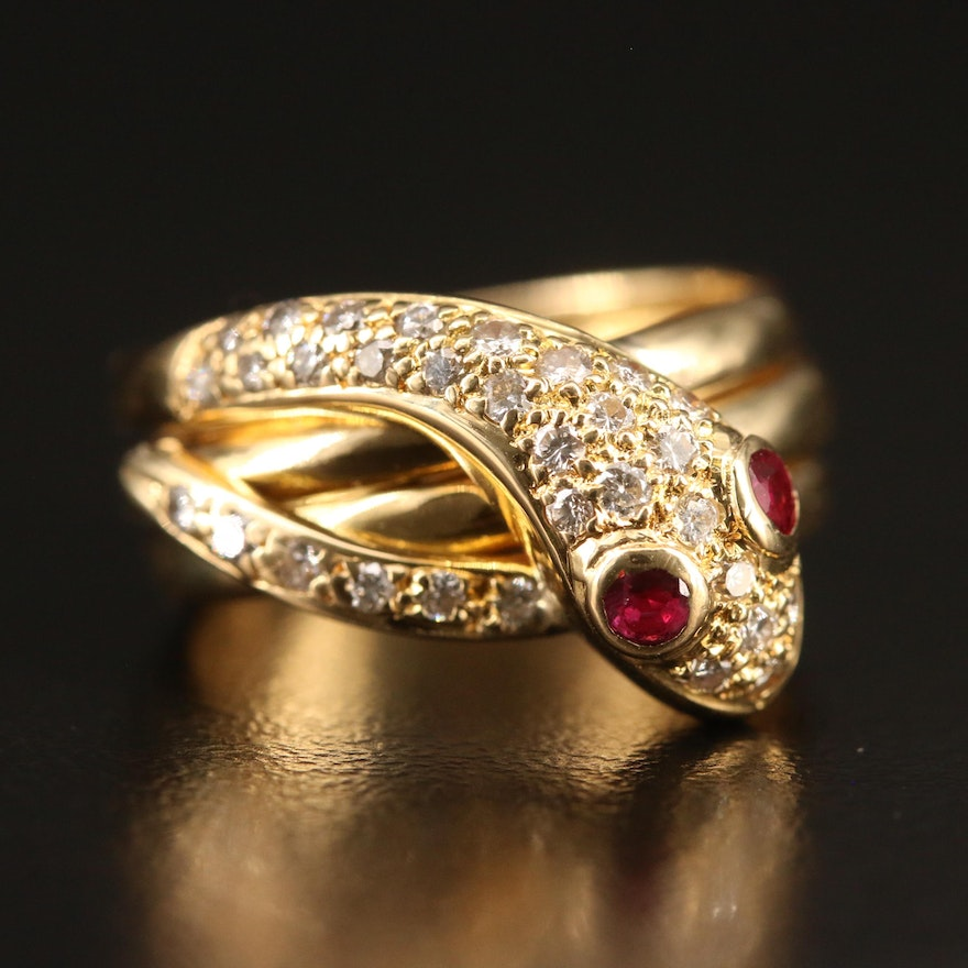 18K Diamond and Ruby Coiled Snake Ring