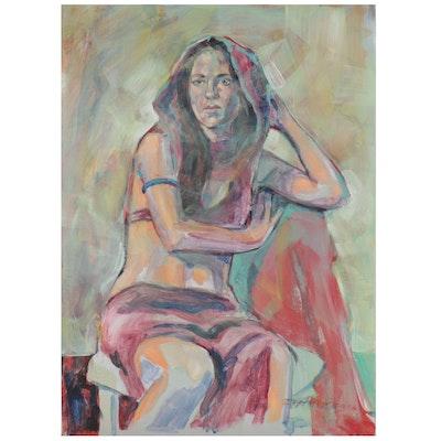 Raymond Zaplatar Acrylic Painting of Female Figure, 2016
