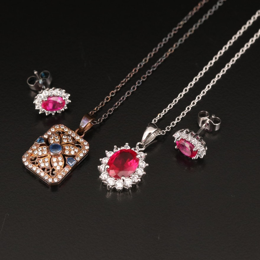 Stauer Sterling Ruby, Sapphire and Cubic Zirconia Necklaces and Earrings