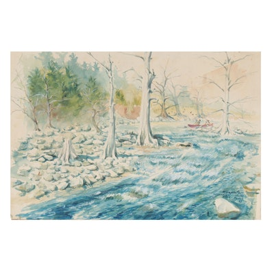 "Raymond Zaplatar Watercolor Painting ""Pedernales River,"" 1980"