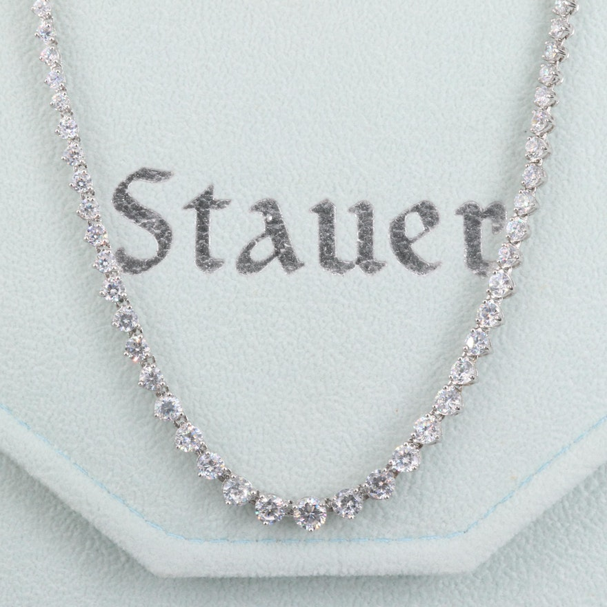 Stauer Sterling Silver Cubic Zirconia Graduated Riviera Necklace