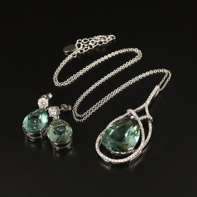 Stauer Sterling Quartz and Cubic Zirconia Necklace and Earrings Set